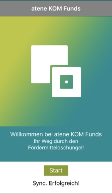 Screenshot der atene KOM Funds - Fördermittelapp