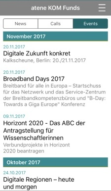 "Screenshot des Reiters ""Events"" der atene KOM Funds - Fördermittelapp"