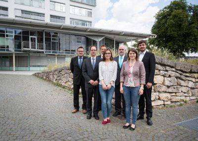 Vertreter des kommunalen Zusammenschlusses Komm.Pakt.Net. am 18.07.2016 in Ulm. V.l.n.r.: F. Kibler, J. Schilling, H. Scheffold, M. Varlioglu, M. Preißler, C. Reck und K. Westermann
