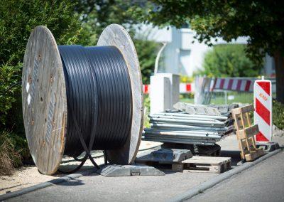 Eine Kabelrolle an einer Baustelle