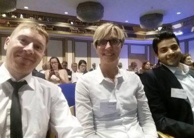 Projektmanager Darijus Valiucko, Projektleiterin Britta Schmigotzki und Projektmanager Peyman Khodabakhsh (alle atene KOM GmbH) auf der NSR-Konferenz 2017 in Göttingen