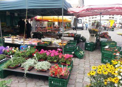Ein Marktstand mit Blumen in Frankfurt (Oder)