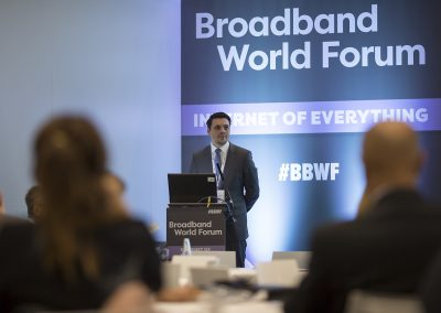 Johannes Feldmann (COO atene KOM GmbH) spricht am 24.10.2017 in Berlin beim Governmental Workshop im Rahmen des Broadband World Forums 2017. Foto: atene KOM GmbH / Florian Schuh