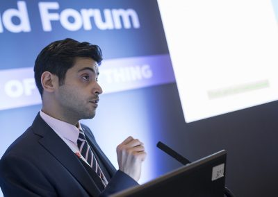 Peyman Khodabakhsh (Projektmanager atene KOM GmbH) am 24.10.2017 in Berlin beim Governmental Workshop auf dem Broadband World Forum 2017. Foto: atene KOM GmbH / Florian Schuh