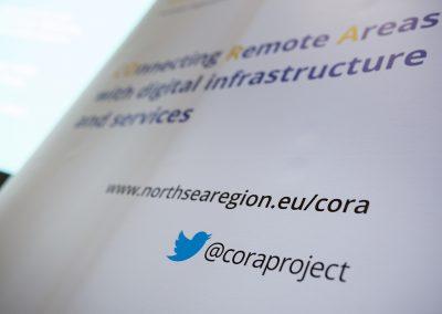Hinweis auf das Projekt CORA am 24.10.2017 in Berlin beim Governmental Workshop im Rahmen des Broadband World Forums 2017. Foto: atene KOM GmbH / Florian Schuh