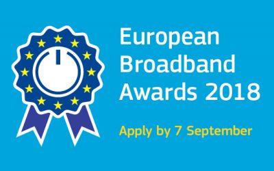 Bewerben Sie sich bis zum 7. September für die European Broadband Awards 2018!