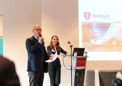 Jon Lobner (Syddjurs Kommune) sharing the Syddjurs mobile hub ideas and digital offers for people with dementia. Background: Anne Reichenbach (Project Manager atene KOM). CORA Conference, Kiel (Germany), 13 November 2018
