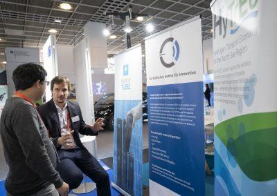 Der Stand des European Institute for Innovation (EIfI) ist am 20.11.2018 in der Ausstellungsfläche Digital Regions der atene KOM auf der Hypermotion in Frankfurt zu sehen.