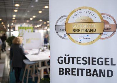 Das Gütesiegel Breitband ist am 21.11.2018 auf der Hypermotion in Frankfurt im Ausstellerbereich Digital Regions der atene KOM zu sehen.