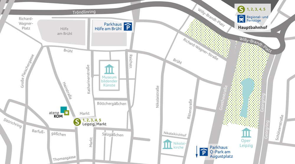 Stadtplan von Leipzig mit eingezeichnetem Regionalbüro der atene KOM