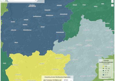 Screenshot Zuwachs privater Breitbandverfügbarkeit, Sauerland, Nordrhein-Westfalen